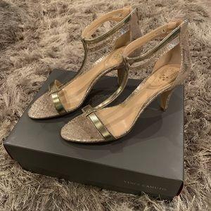 (NEW) Vince Camuto Makoto Goddess Gold Sandal Heel